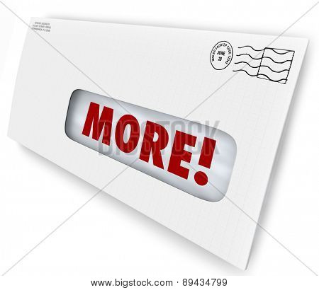 More word on envelope to illustrate raising or increasing your rate of response to marketing or advertising mailing