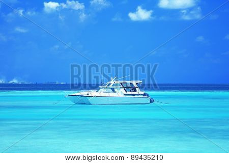 Yacht over ocean water background