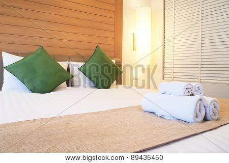Closed Up Bed In Luxury Hotel Room