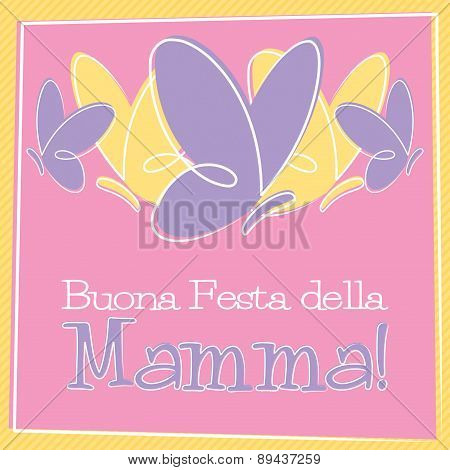 Hand Drawn Italian Happy Mother's Day Card In Vector Format.