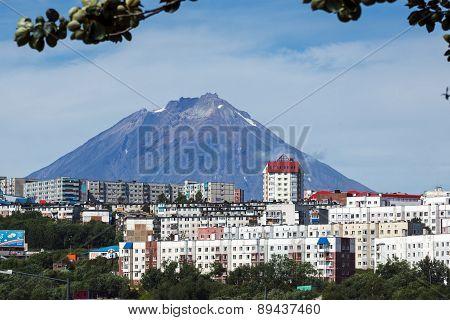 Summer View Of City Petropavlovsk-kamchatsky And Koryak Volcano. Russia, Far East