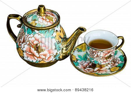 Chinaware Tea Pod And Small Drinking Bowls