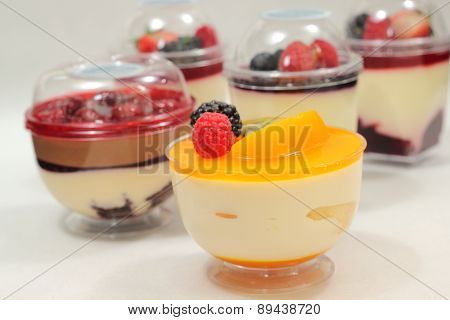 Dessert Glass Cup With Fruits And Chocolate Mousse