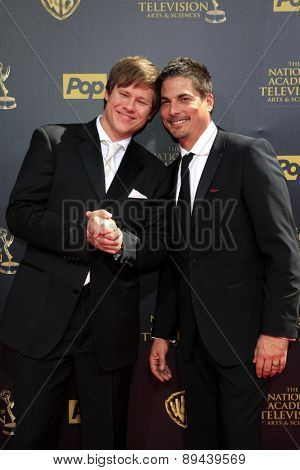 BURBANK - APR 26: Guy Wilson, Bryan Datillo at the 42nd Daytime Emmy Awards Gala at Warner Bros. Studio on April 26, 2015 in Burbank, California