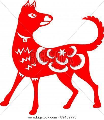 Red paper cut a dog zodiac symbols