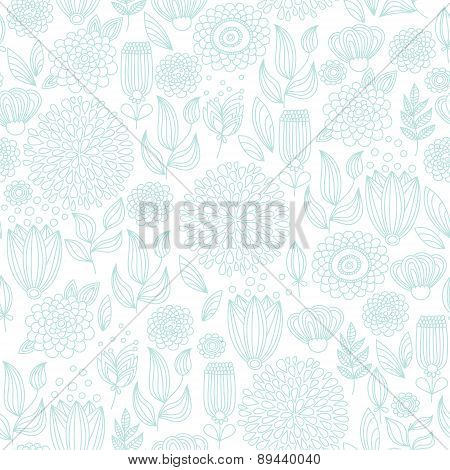 Pale Turquoise Seamless Floral Pattern