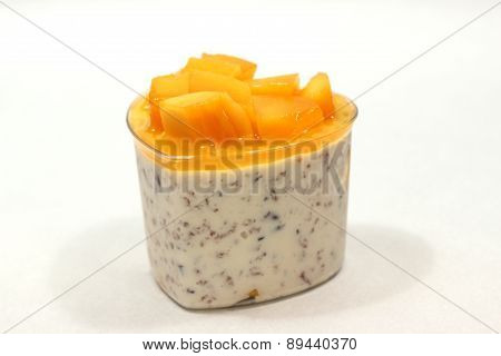 Dessert With Mango Mousse In Cup.