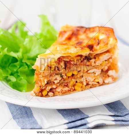 Tortilla (lavash), Chicken, Zucchini And Sweet Corn Layered Cake
