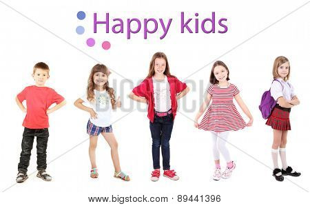 Happy kids isolated on white