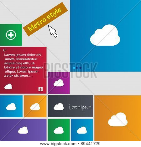 Cloud Icon Sign. Metro Style Buttons. Modern Interface Website Buttons With Cursor Pointer. Vector