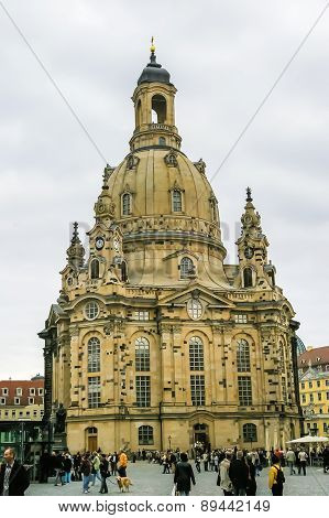 Frauenkirche Temple In Dresden, Germany