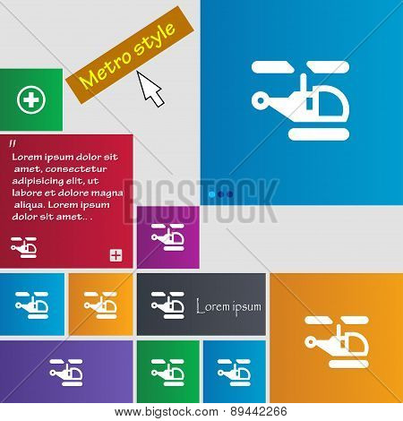 Helicopter Icon Sign. Metro Style Buttons. Modern Interface Website Buttons With Cursor Pointer. Vec