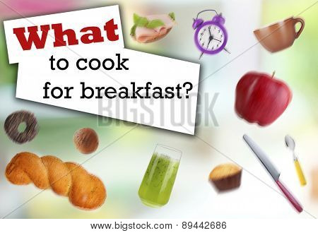 Breakfast dishes in collage