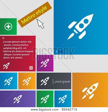 Rocket Icon Sign. Metro Style Buttons. Modern Interface Website Buttons With Cursor Pointer. Vector
