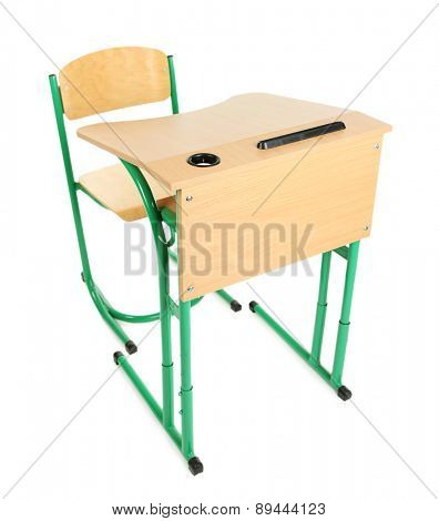 Wooden desk and chair isolated on white