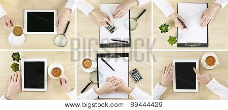 Collage of photos with hands working in the office