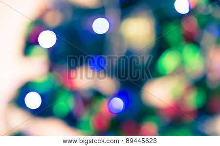 Bokeh Defocused Blur Of Light Decoration On  Christmas Tree