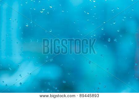 Window With Rain Drop In Dark Blue Tone