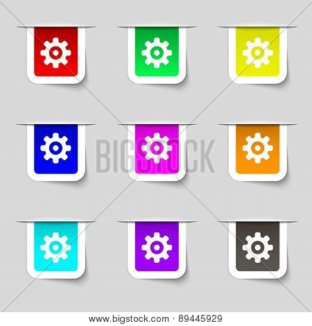 Cog Settings, Cogwheel Gear Mechanism Icon Sign. Set Of Multicolored Modern Labels For Your Design.