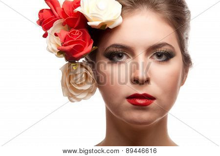 Girl With Flowers In Head On White Background