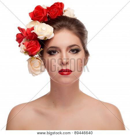Beauty Portrait Of Girl With Flowers In Head