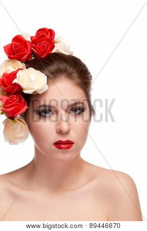 Girl With Flowers In Head Isolated Over White Background