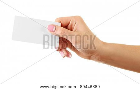 Female hand holding card isolated on white