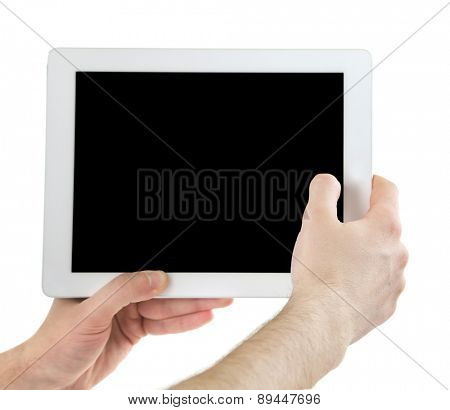 Male hands holding digital tablet isolated on white