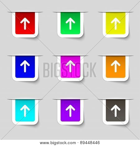 Arrow Up, This Side Up Icon Sign. Set Of Multicolored Modern Labels For Your Design. Vector