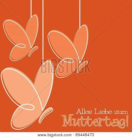 Hand Drawn German Happy Mother's Day Card In Vector Format.