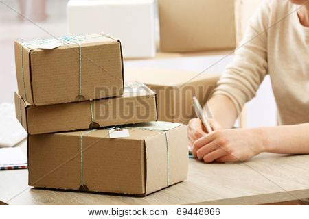Woman working in post office