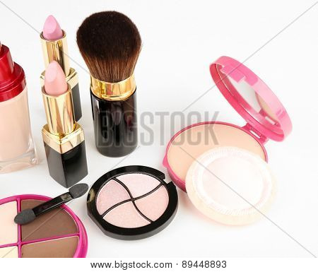 Different cosmetics isolated on white