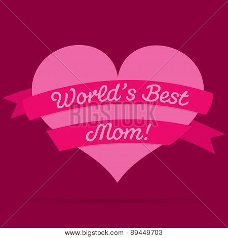 Mother's Day Heart With Ribbon Card In Vector Format