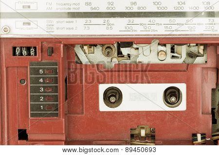 Closeup Vintage Radio Cassette Player