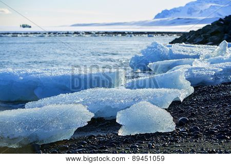 Ice Floes At Glacier Lagoon Jokulsarlon In Iceland