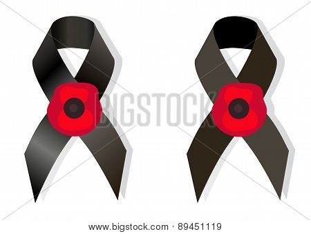 Black Awareness Ribbon And The Flower Poppy