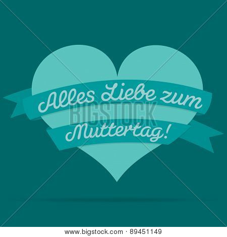 German Happy Mother's Day Heart With Ribbon Card In Vector Format.