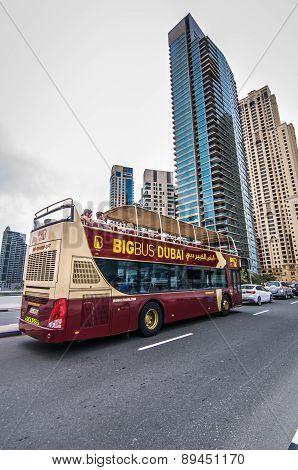 Dubai BIG Bus Coach seen across Dubai during tourist visit.