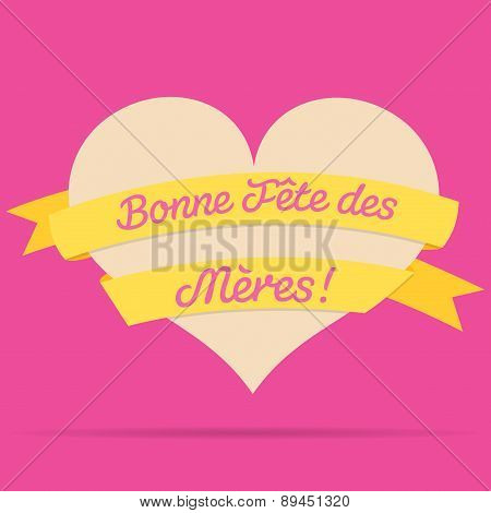 French Happy Mother's Day Heart With Ribbon Card In Vector Format.