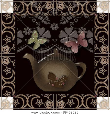 Illustration Of A Teapot In Glassy Retro Effect