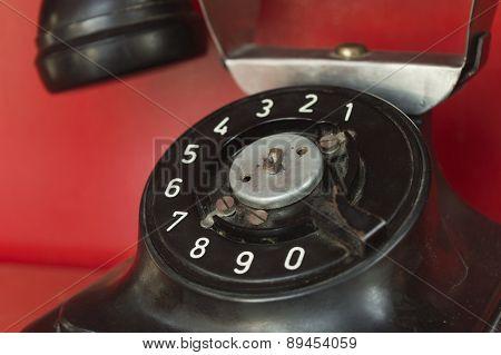 Black Telephone Set In Red Phone Box