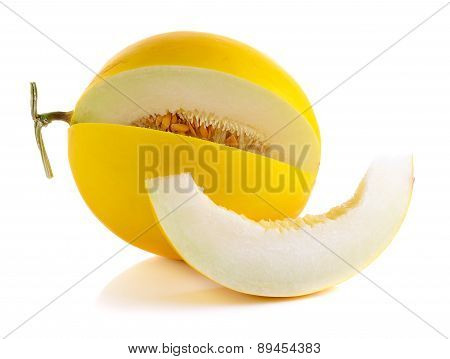 Yellow Cantaloupe Isolated On The White Background