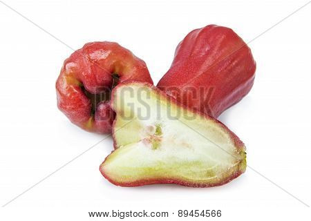 Sliced Rose apples isolated on white background