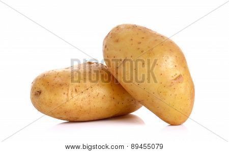 Raw Potato Isolated On The White Background