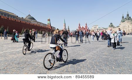 Tourists Walk In Moscow