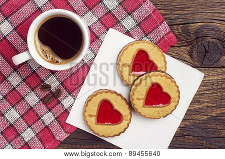 Cookies With Jujube In Shape Of Hearts And Coffee
