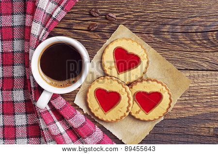 Coffee And Cookies With Jam In Shape Of Heart