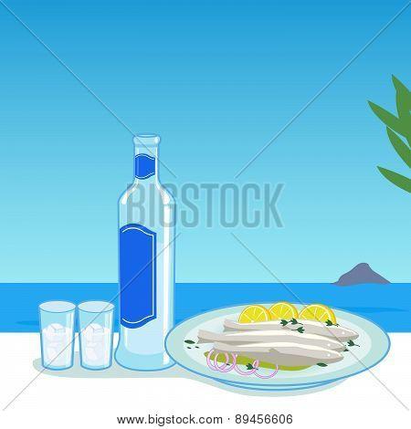 Ouzo and fish