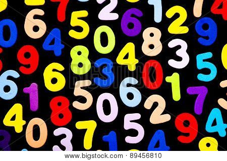 Brightly Coloured Numbers On Black Background