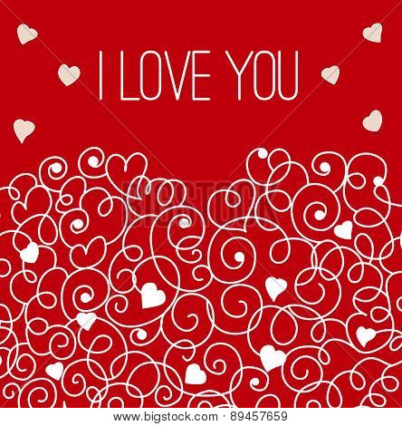 Red greeting card with floral heart shape. I love You sign